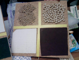 tavola multisensoriale divisa in 4 quadranti